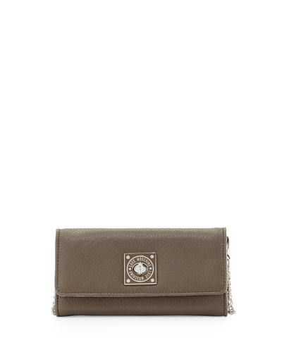 Turn-Lock Wallet Clutch, Taupe