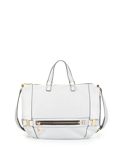 Honore Perforated Leather Hobo Bag, White
