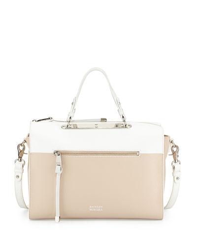 Glenda Colorblock Satchel Bag, Latte/White