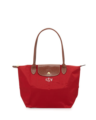Le Pliage Monogrammed Small Shoulder Tote Bag, Deep Red