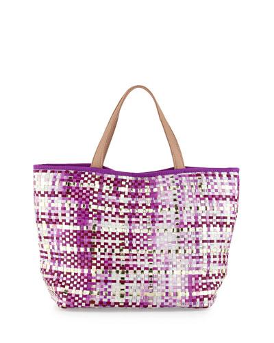 Callie Woven PVC Tote Bag, Purple