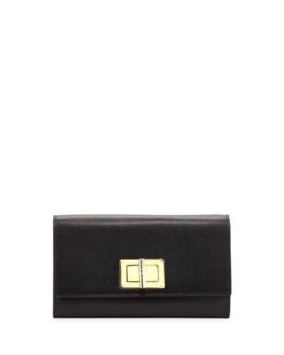 Natalia Turn-Lock Wallet-on-Chain, Black