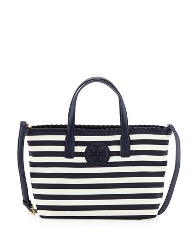 Marion Small Striped Nylon Tote Bag