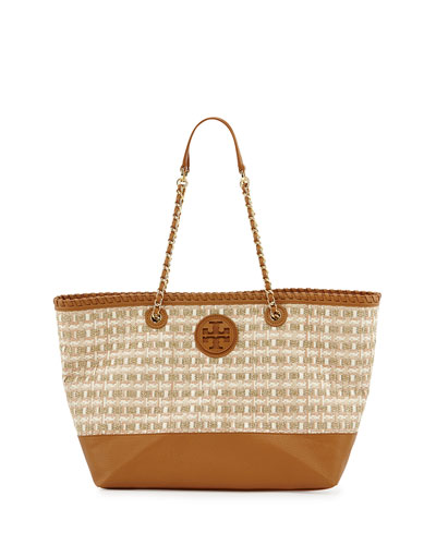 Marion Woven Straw Tote Bag, Gold