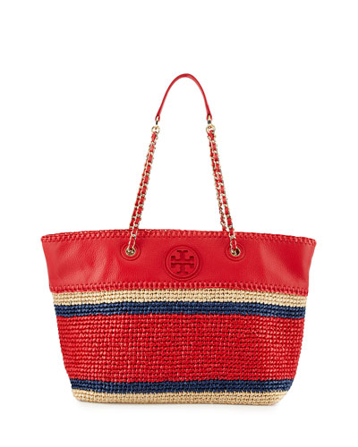 Marion Striped Straw Tote Bag, Ruby Jewel