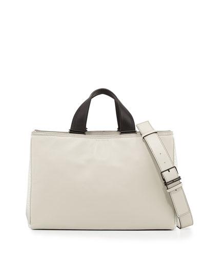 Inez Leather Carryall Tote Bag, Eggshell
