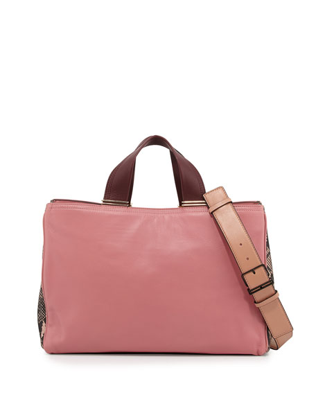 Inez Leather Carryall Tote Bag Dusty Pink Multi