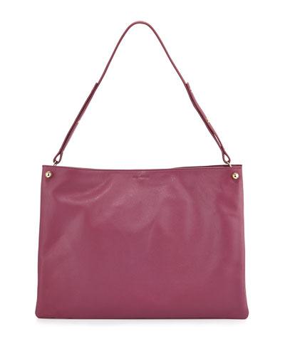 Bijou Leather Shoulder Bag, Raspberry