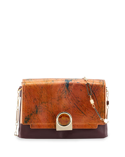 Bijou Colorblock Chain Shoulder Bag, Marble Metallic