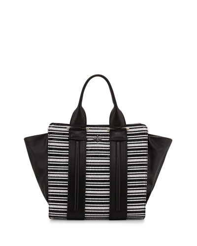 Two-Tone Woven Tote Bag, Black/White