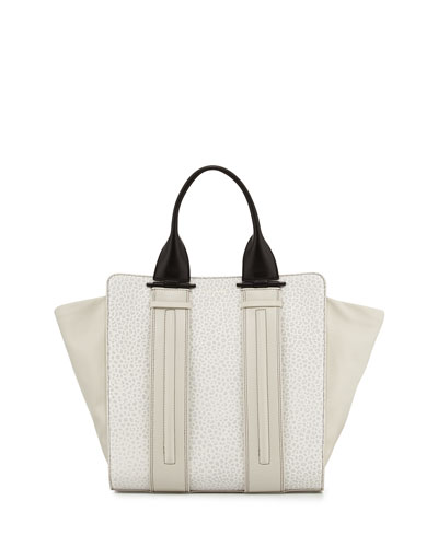 Two-Tone Bubble-Embossed Tote Bag, Eggshell