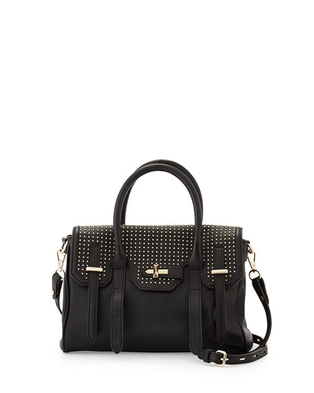 Jules Studded Mini Satchel Bag Black