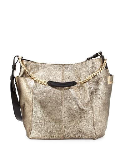 Jimmy Choo  Anna Metallic Shoulder Bag, Silver