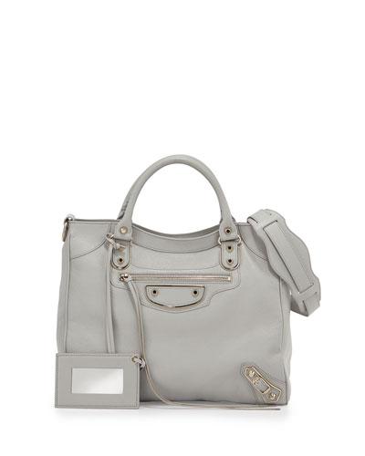 Metallic Edge Classic Velo Bag, Light Gray