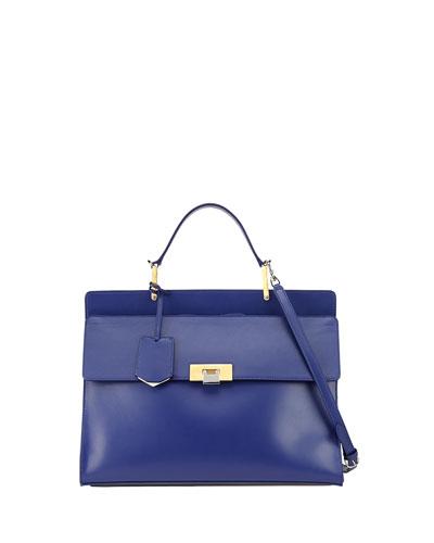 Le Dix Zip Cartable Satchel Bag, Blue