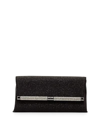 440 Glitter Envelope Clutch Bag, Deep Black