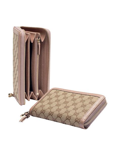 45d548182aa Gucci Bree Original Gg Canvas Zip Around Wallet Beige Cipra