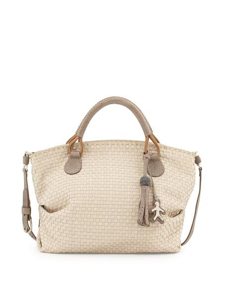 Agnes Medium Woven Satchel Bag Cream