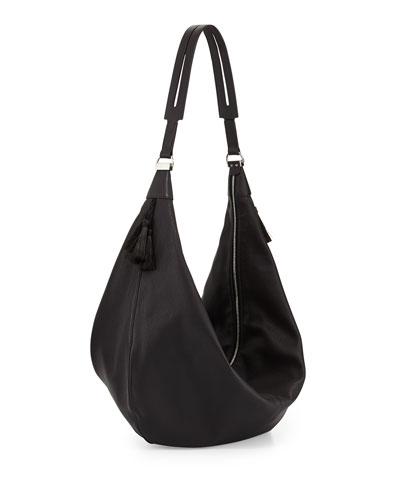 Sling 15 Grained Calfskin Hobo Bag, Black