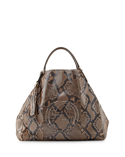 Soho Large Python A-Shape Tote Bag, Pearl Gold Pink