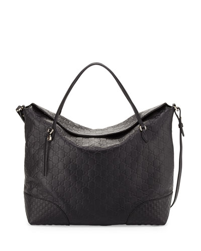 Bree Large Double-Handle Leather Tote, Nero Black