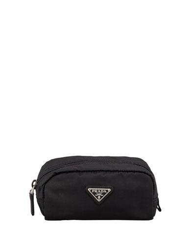Nylon Small Rectangle Cosmetic Case, Black (Nero)