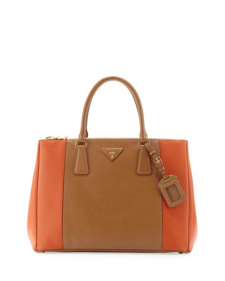 a6333eee56ae Prada Bicolor Saffiano Double-Zip Tote Bag, Brown/Orange (Carmel/papaya)