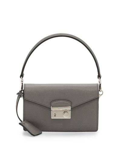 Saffiano Mini Sound Bag, Gray (Marmo)