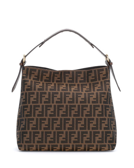 watch lace up in wide varieties Fendi Zucca-Print Canvas Small Hobo Bag, Tobacco