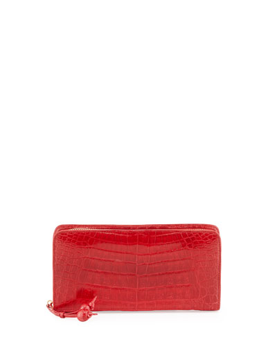 Crocodile Zip Continental Wallet, Med Red
