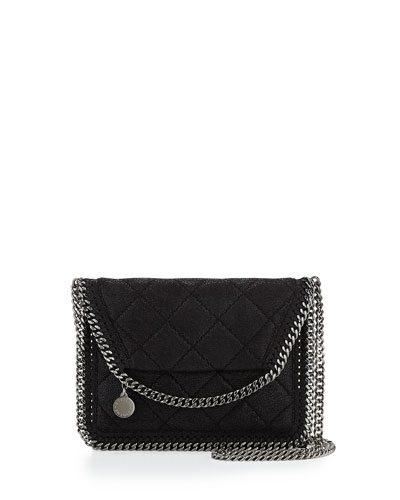 Falabella Mini Crossbody Quilt Bag, Black