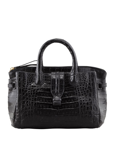 Cristina Crocodile Tote Bag, Black