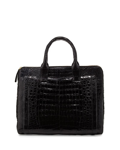 Modern Double-Zip Crocodile Tote Bag, Black