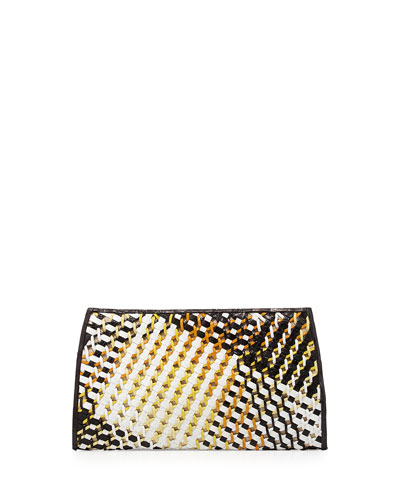 Woven-Front Crocodile Clutch Bag, Black/White/Yellow