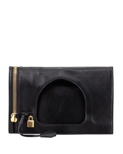Alix Small Padlock & Zip Shoulder Bag, Black