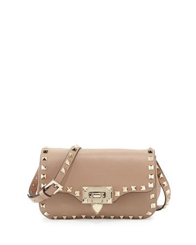 Rockstud Mini Leather Crossbody Bag, Alpaca