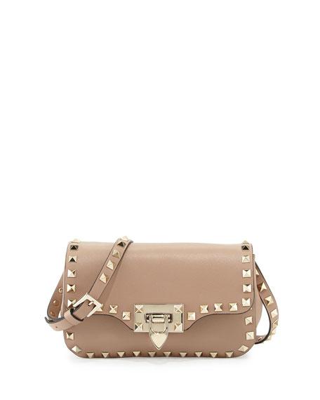b6cbda8a3f1c Valentino Rockstud Mini Leather Crossbody Bag, Alpaca