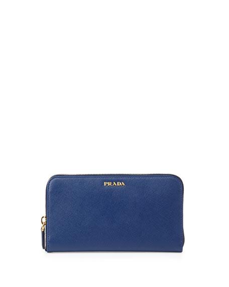e5a4553ba001 Prada Saffiano Large Zip-Around Continental Wallet, Blue (Bluette)