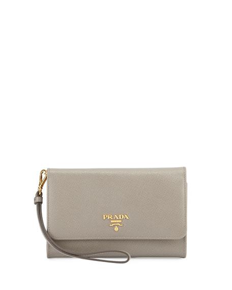 ed430cab311c Prada Saffiano Smart Phone Wristlet Wallet, Gray (Argilla)
