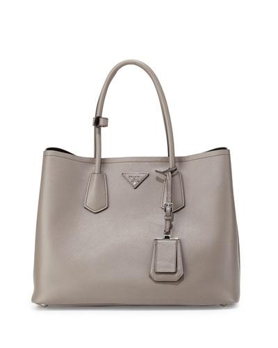 City Calf Double Bag, Gray (Argilla)