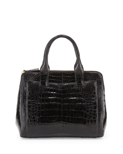 Small Modern Double-Zip Crocodile Tote Bag, Black