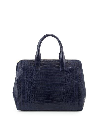 Large Modern Double-Zip Crocodile Tote Bag
