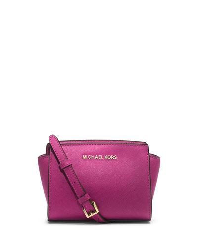 Selma Mini Saffiano Messenger Bag, Fuchsia