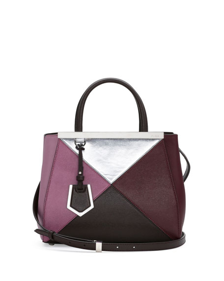 Fendi Personalized 2Jours Petit Mixed-Leather Tote Bag