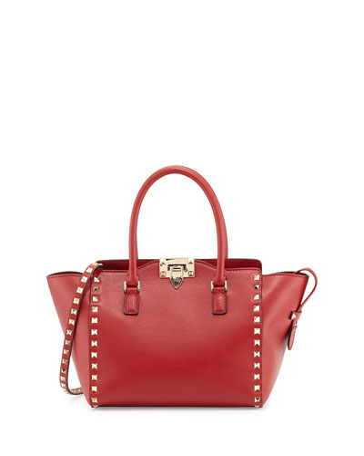 Small Rockstud Double-Handle Tote Bag, Rosso (Red)