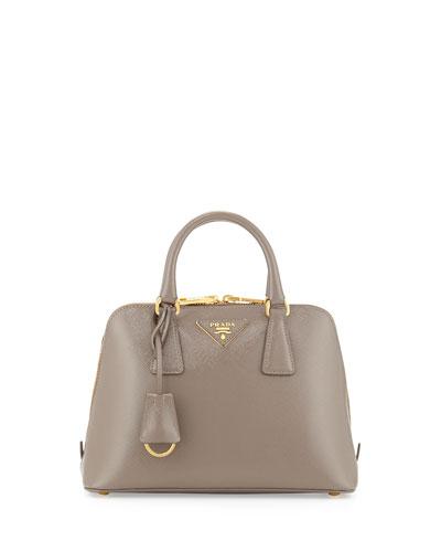 Mini Double-Handle Trapezoid Bag, Gray (Argilla)