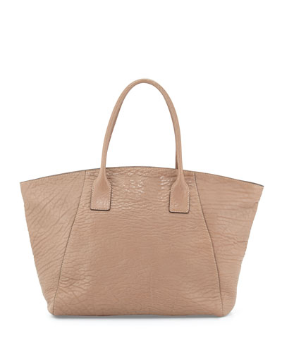 Pebbled Medium Tote Bag, Biscotti