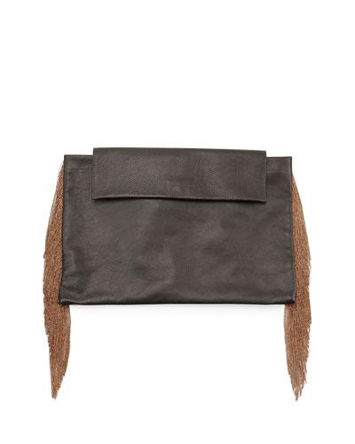 Monili Large Fringe Clutch Bag, Black