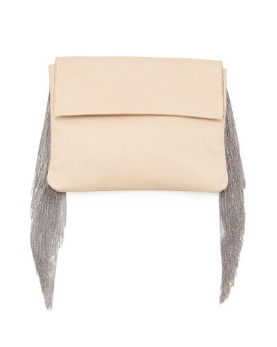 Monili Small Fringe Clutch Bag, Nude