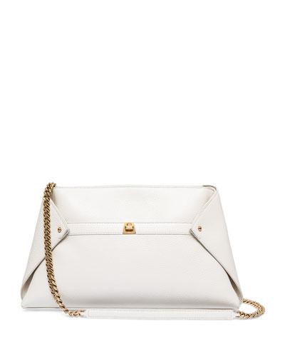 Ai Medium Leather Clutch Bag, Ivory